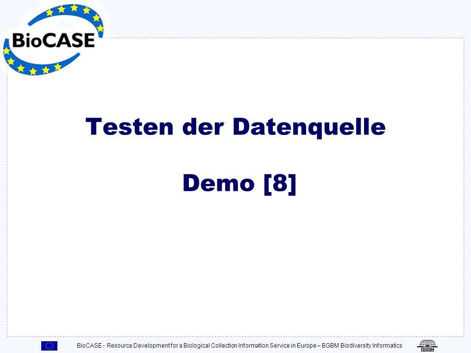 Testen der Datenquelle Demo [8]